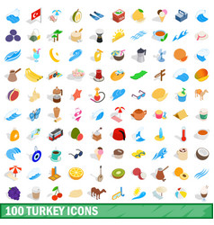 100 turkey icons set isometric 3d style vector