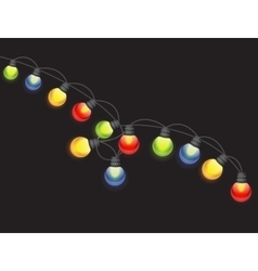 Multicolored Garland Lamp Bulbs Festive Isolated vector image