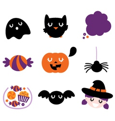 Halloween icon set isolated on white vector image