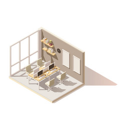 Isometric low poly office room vector