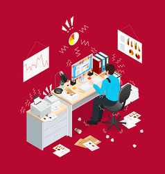 Deadline office isometric composition vector