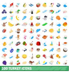 100 turkey icons set isometric 3d style vector image