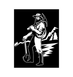 Miner with with pick axe and shovel vector