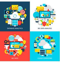 Big data flat concepts vector