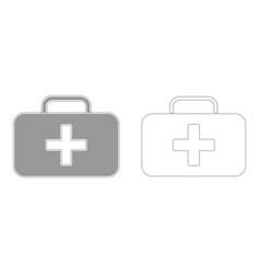 medical case grey set icon vector image