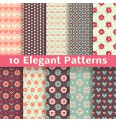 Elegant romantic seamless patterns tiling Retro vector image