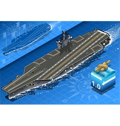 Isometric aircraft carrier in navigation in front vector