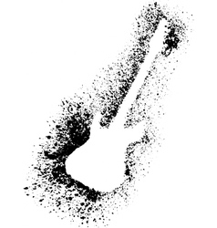 Silhouette of guitar with grunge black splashes vector