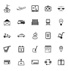 International business line icons on white vector