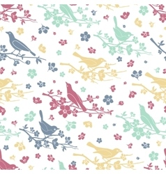 Birds and twigs seamless pattern vector
