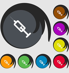 Syringe icon sign symbol on eight colored buttons vector