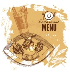 Hand drawn sketch restaurant food set european vector