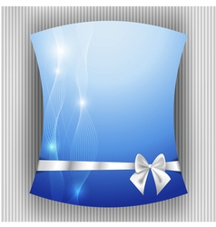 White ribbon and bow on blue background vector