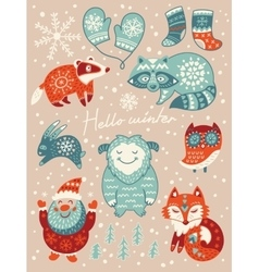 Hello winter card christmas set with cartoon vector