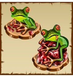 Funny frog picture on a pile of precious stones vector