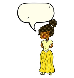 Cartoon pretty victorian woman with speech bubble vector