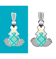 Easter egg and easter bunny bunny and egg funny vector
