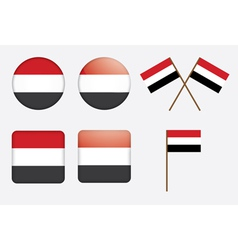 Badges with flag of yemen vector