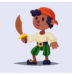 Funny cute cartoon boy pirate kid with wooden vector