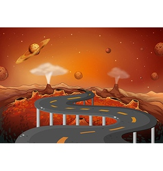 A road with planets in the outer space vector image