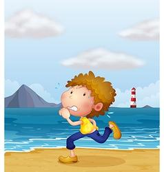 A young man jogging along the beach vector