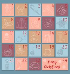 Advent retro style calendar sketch christmas vector