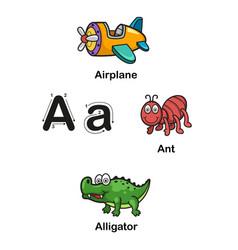 Alphabet letter a-airplane ant alligator vector
