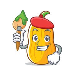 Artist butternut squash character cartoon vector