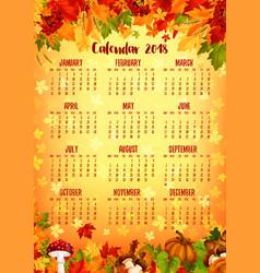 Autumn calendar template of fall nature season vector