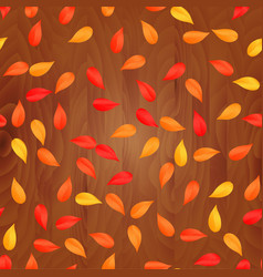autumn leaves on wooden plank background vector image