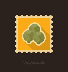 Brussels sprouts flat stamp vegetable vector