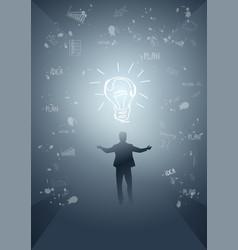 business man silhouette light bulb new idea vector image vector image