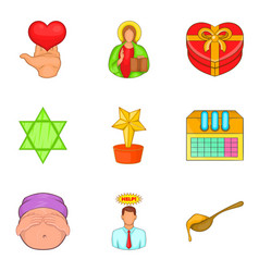 care help icons set cartoon style vector image