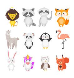 cartoon cute animals vector image vector image