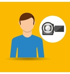 character man movie concept photo video camera vector image vector image