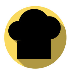 Chef cap sign flat black icon with flat vector