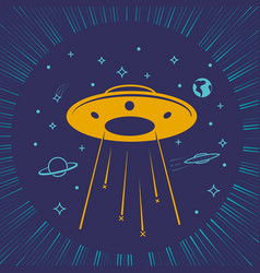 Children ufo starry sky vector