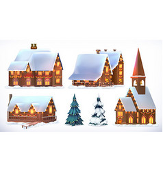 Christmas Cottages country houses Festive vector image vector image