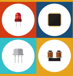 flat icon device set of resist coil copper cpu vector image