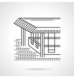 Flat line design coastal terrace icon vector