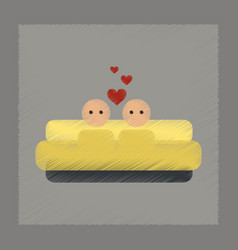 Flat shading style icon gay in bed vector