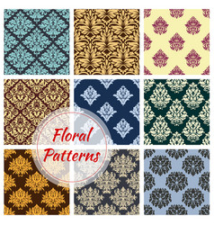 Floral seamless patterns of flower ornament vector