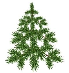 Green christmas tree fluffy fir green pine tree vector
