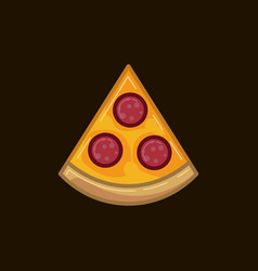 icon pizza with sausage on a dark vector image