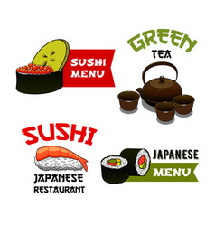 Icons of sushi for japanese restaurant menu vector