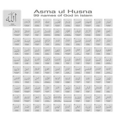 Icons with 99 names of god in islam vector