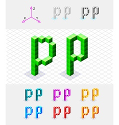 Isometric font from the cubes Letter P vector image vector image