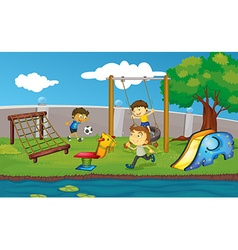 Kids having fun in the park vector image