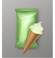 Kiwi mint ice cream waffle cone with foil vector