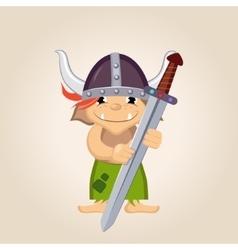 Little kid dressed as viking vector